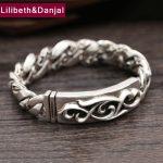 2017 New 925 <b>Sterling</b> <b>Silver</b> Bracelet Men <b>Jewelry</b> 16mm Wide Eternal Flower Bangle Bracelet Women Gift Fine <b>Jewelry</b> B11