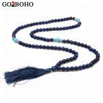 Go2bohe Women <b>Jewelry</b> Beaded Necklaces Men Bohemian Long Tassel Pendants Necklace <b>Handmade</b> Knotted Mala Beads Choker for Prayer