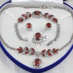Women's Wedding <b>jewelry</b> set Red crystal Necklace pendant Bracelet Ring silver mujer moda