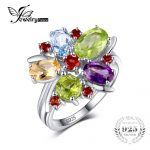 JewelryPalace Flower 3.1ct Natural Amethyst Garnet Peridot Citrine Blue Topaz Cocktail Ring 925 Sterling <b>Silver</b> Fashion <b>Jewelry</b>