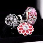 3pcs Fashion S925 Silver Red Enamel Flower Dangle Charms Beads <b>Jewelry</b> Set Fit Bracelets Necklaces <b>Jewelry</b> <b>Making</b> Woman Gift