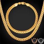 Gold/Rose Gold Color Chain For Men Necklace Bracelet Set Hot <b>Fashion</b> Men <b>Jewelry</b> Sets Wholesale NH739