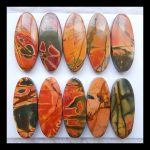 SALE 10pcs Natural Stone Multi-color Picasso Jasper Cabochons 25*10*4mm,16.9g,simeprecious stone <b>fashion</b> accessory cabochon