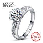 YANHUI 100% Original Solid 925 Silver <b>Wedding</b> Rings For Women Set 6mm 1 Carat CZ Diamant Engagement Rings Bridal <b>Jewelry</b> LER055