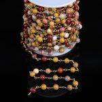 6mm Smooth Round Bead Mookaite Brass Bronze Rosary Chain,Gems Jasper Copper Wire Wrapped Chain,Fashion Bracelet <b>Necklace</b> <b>Jewelry</b>