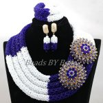 Chunky 4 Layers Nigerian Wedding African Beads <b>Handmade</b> Bridal <b>Jewelry</b> Set Women Statement Necklace Sets Free Shipping ABK951