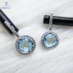 TBJ,4ct natural blue topaz checkerboard cut gemstone <b>earring</b> for girls boyfriend daughter gift 925 stelring <b>silver</b> fine jewelry