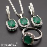 Hermosa Jewelry Nice Classic Fashion Oval Green 925 Sterling <b>Silver</b> women Pendant + Chain+Earrings + Ring 8#