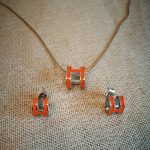 H letter earring and <b>necklace</b> enamel <b>jewelry</b> set