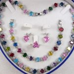 Prett Lovely Women's Wedding shipping> >Multicolor Zircon Link Bracelet/ Earrings /Ring / Necklace Set silver-<b>jewelry</b>