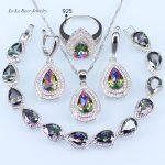 L&B Natural Mystic Rainbow Zircon 925 Logo Silver Color <b>Jewelry</b> Set For Women <b>Wedding</b> Earrings/Pendant/Necklace/Rings