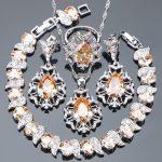 925 Sterling <b>Silver</b> Bridal Champagne Cubic Zirconia Jewelry Sets Women Wedding <b>Bracelet</b> Stone Earrings Pendant Necklace Rings