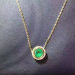 natural green emerald pendant S925 <b>silver</b> Natural gemstone Pendant Necklace Simple Small cute round two wears girl gift <b>jewelry</b>