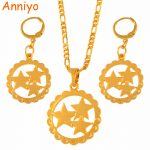 Anniyo Three Stars Pendant Necklaces Earrings sets Mom Gifts Gold Color Star <b>Jewelry</b> Mama Birthday Gift #118106