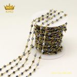 5meters Glass Chains Findings,4mm Rainbow Black AB Titanium Glass Faceted Double Rice Shaped Beaded Chain <b>Jewelry</b> <b>Supplies</b> ZJ210