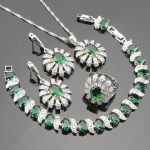 Green Zircon 925 Silver Bridal <b>Jewelry</b> Sets Decorations For Women Bracelets <b>Necklace</b> Rings Earrings Set With Stones Gift Box