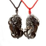 Bao Wu light ice color Obsidian pendant on male and female lovers dance diy real stone Obsidian jewelry <b>necklace</b> charms popsock
