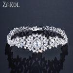 ZAKOL Classic Micro Inlay Cubic Zircon Watch Shape Bracelets/Bangle Luxury Silver Color Flower <b>Wedding</b> <b>Jewelry</b> For Women FSBP023