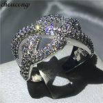 choucong <b>Handmade</b> Cross Ring Pave setting 5A Zircon Cz 925 Sterling Silver Engagement Wedding Band Rings for women men <b>Jewelry</b>