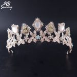 Snuoy Goddess Pink Crowns Hair <b>Jewelry</b> for Women Rose Gold Tiara Leaf <b>Wedding</b> Hairbands Bridal Hair Accessories for Party HG696