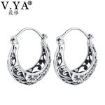 V.YA Vintage Thai Silver Flower Hoop Earrings for Women Solid 925 Sterling Silver <b>Jewelry</b> Birthday Mother Days Gift