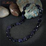 KCALOE Navy Blue Sand Statement Necklace Vintage <b>Accessories</b> Bijoux Femme Oval Natural Stone Retro <b>Jewelry</b> Necklaces Women