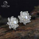 Lotus Fun Real 925 Sterling <b>Silver</b> Natural Pearl Creative Handmade Fine Jewelry Vintage Blooming Lotus Stud <b>Earrings</b> for Women