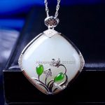 925 silver Natural White Green HeTian Yu <b>Handmade</b> Flower Rhombus Design Lucky Pendant Necklace + certificate Fashion <b>Jewelry</b>