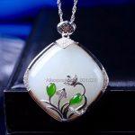 925 silver Natural White Green HeTian Yu <b>Handmade</b> Flower Rhombus Design Lucky Pendant Necklace + certificate Fashion <b>Jewelry</b>