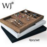 Wholesale 4pcs/set Velvet Stackable <b>Jewelry</b> Showcase Countertop Display Tray Multi Functional Rings <b>Necklace</b> Bracelet Organizer