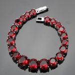 925 Sterling Silver <b>Jewelry</b> 18CM Red Stones Charms Bracelets For Women Wedding Zircon Jewelery Free Gift Box