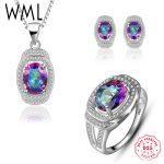 WML Genuine 925 Sterling <b>Silver</b> infinity Necklace Ring <b>Earrings</b> CZ Mystic Rainbow for women Luxury Wedding Fine Jewelry Set T489