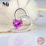 Hot sale 925 sterling silver diy design love heart chain pendant&necklace with Zirconia diy fashion <b>jewelry</b> <b>making</b> for girl gift