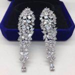 Luxury <b>Wedding</b> Earrings Long Waterfall Shaped Full Zirconia Stone Pendant Statement Earrings Eneagement <b>Jewelry</b> Brincos