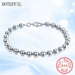 DOTEFFIL 925 Sterling <b>Silver</b> <b>Bracelets</b> Women Italy Polishing Process Smooth Round Beads <b>Bracelet</b> Bangles Best Gift Jewelry