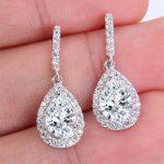 Bella Fashion 925 Sterling Silver Teardrop Bridal Earrings Cubic Zircon Dangle Earrings For <b>Wedding</b> Bridesmaid Party <b>Jewelry</b>