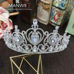 MANWII Bride AAA zircon crowns tiaras headdress <b>wedding</b> bridal <b>jewelry</b> ornaments big Crown Princess Dress Accessories HD2024
