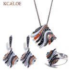 KCALOE Multicolor Enamel And Black Rhinestone Big Statement Pendant <b>Necklace</b> Ring Jewellery Set <b>Silver</b> Color Copper Jewelry Sets
