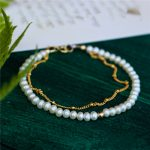 <b>Handmade</b> Customize Natural Pearl Bracelet Personalized Gold Wrap Fillde Layered Bangles Vintage Party <b>Jewelry</b> Bracelet for Women