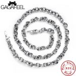 GAGAFEEL 100% Real Pure 925 <b>Sterling</b> <b>Silver</b> Necklaces For Men Italy Chain Fashion Retro Vintage <b>Jewelry</b> Rope Chain Male Necklace