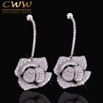 CWWZircons <b>Fashion</b> Brand Women <b>Jewelry</b> Cubic Zirconia Setting Large Flower Stud Earrings With 925 Sterling Silver Pin CZ246