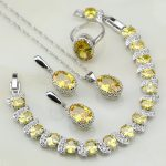 Crown Yellow Cubic Zirconia 925 Sterling <b>Silver</b> Bridal Jewelry Sets For Women Wedding Earring/Pendant/Necklace/<b>Bracelet</b>/Ring