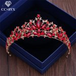 CC tiaras and crowns hairbands luxury red cz stone engagement <b>wedding</b> hair accessories for bridal party <b>jewelry</b> water drop xy178