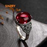 Sinzry original design <b>handmade</b> 925 sterling silver vintage palace rhinestone garnet rings lady fine <b>jewelry</b> Rings for Women