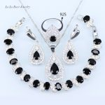 L&B <b>silver</b> 925 wedding jewelry Black stone zircon Necklace Pendant <b>Bracelets</b> Earrings For Women Jewelry Sets