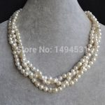 Wholesale Pearl Jewelry , Triple Strands 18 Inches 6-7mm White Crystal Beads Natural Freshwater Pearl <b>Necklace</b> – Free Shipping