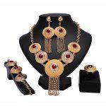2018 New Exquisite <b>Fashion</b> Dubai Gold Color <b>Jewelry</b> Set High Quality Nigerian Wedding African Beads <b>Jewelry</b> Set