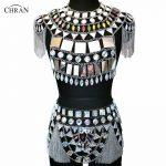 Chran AB Fringe Skirt Bra Set EDM Chain Shoulder <b>Necklace</b> Rave Bra Bralete Festival Dress Costume Wear EDC Ibiza <b>Jewelry</b> CRS420