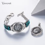 Vercret Vintage <b>Native</b> <b>American</b> 1908 Solid Grade Indian Head Penny Bracelet Bangle for Turquoise 925 Silver <b>Jewelry</b> Bracelet