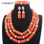 African Orange Coral Beads Nigerian <b>Handmade</b> <b>Jewelry</b> Set Coral Beads Necklace Set earrings Gift <b>Jewelry</b> Free Shipping HD8859